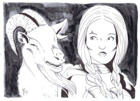 Valkyrie and a goat by Shadowrenderer