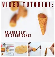 video tutorial - polymer clay ice cream cones by FatalPotato