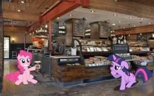 Twilight and Pinkie Pie at Starbucks by dontae98