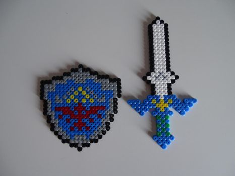 Master Sword and Hylian Shield with Perler Beads. by soniccreed