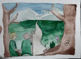 Hobbits Watercolor by hidingmymess