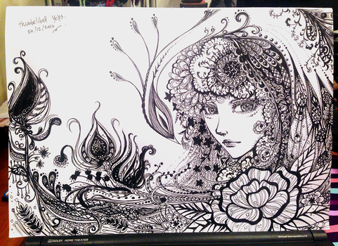 Zentangle art : Peacock and Girl by ittolambo