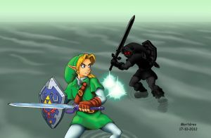 Link Vs Dark Link (Water Temple) by Mortdres