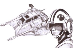 Luke with Snowspeeder by Slayerlane