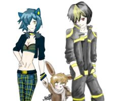 Umbreon+Luxio+Eevee Color by GothicLeafeon