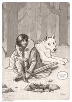 Jon Snow and Ghost by ivancash