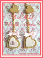 Pink Heart Cookie Necklace by Nika-N