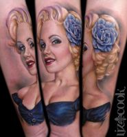 Blue Rose Pinup by LizCookTattoo
