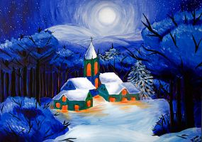 Winter night by Saffella