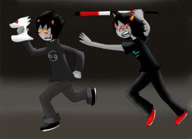 Karkat: run like a hero by Dialirvi