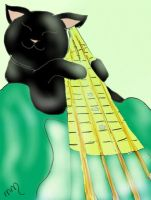 Cat playing Bass Guitar by Meelanya
