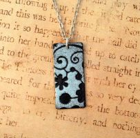 Flower and Swirls Hand Torch Enameled Necklace by FusedElegance