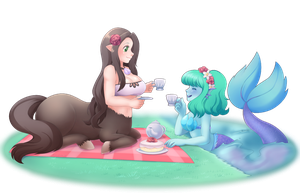 Commish: Monster girl Teaparty by Pastelletta