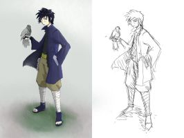Naruto OC: Hisao Uchiha sketch and finish by Vidolus
