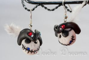 Pirate Skull Polymer Clay Earrings by DeidreDreams