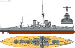 HMS Dreadnought (1911) profile drawing by lichtie