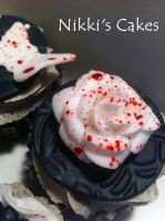 Blood Splatter Rose Cupcake by Corpse-Queen