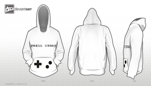 Press start 8-bit Hoodie by TheEndingCatastrophe