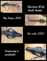 Black wolf skull rattle new pics by lupagreenwolf