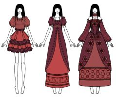 Fashion sketches - Red Dresses by Tea-desu