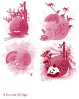 Asian Collage Brushes by StarwaltDesign