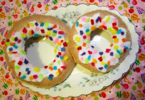 rainbow sprinkle doughnuts by Mab-overthrown