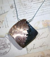 Sterling Silver and Copper Mokume gane Pendant by Utinni