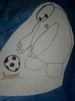 Baymax playing with Soccer ball by Sonicsugarhog23