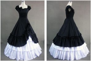 Elegance Black and White Gothic Vitorian dress by lindayang1122