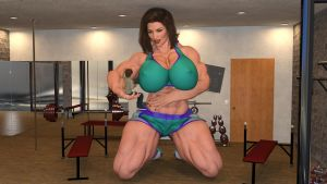 Giantess Muscular Mom and her tiny son by Big-ELSA