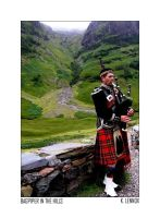 Bagpiper in the Hills by imafatcowmoooo