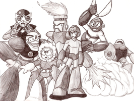 Pen Art- Megaman 1 Collage by Advent-Axl