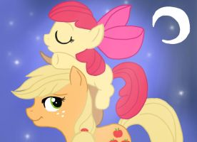 Applejack and Applebloom by Pajamajam