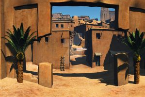 Kasbah Big Desert City by PhotoGraphicdesign