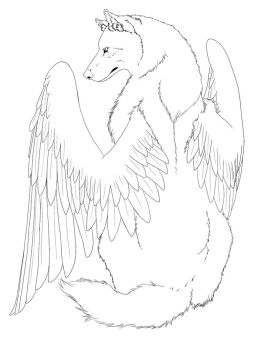 Winged Wolf line art -edited- by CrimsonWolfSobo