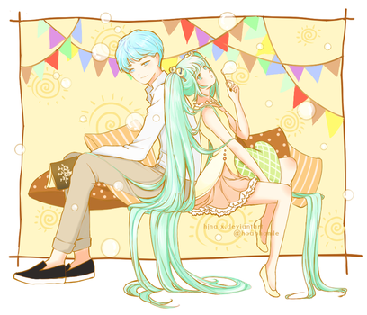 [Fan Art] Vocaloid - Miku x Kaito by hjnalx