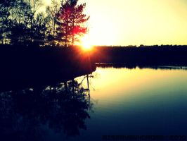 Sunset at the lake by MiserySyndromex3