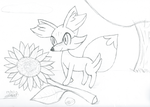 Fennekin and Sunflower by FlakeFox