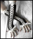 Noir Maiden Corset Arm Warmers by ZenAndCoffee