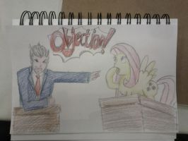 Fluttershy and Phoenix Wright by Closer-To-The-Sun