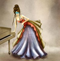 Masquerade ball gown fashion illustration by BasakTinli