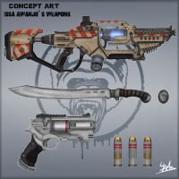 ConceptArt: Issa Awanjo's weapons by Ulamb