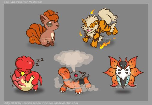 Fire Pokemon Vector Set by pookat
