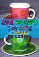 Silly Tea Cups Pack by Stock-By-Crystal
