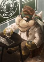 Hipster Bowser's Coffee Time by Hugo-H2P