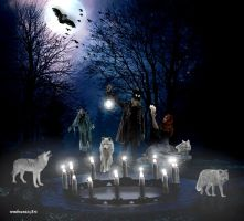 Halloween night with wolves by rembrantt