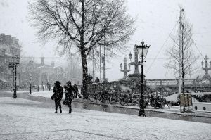 Snowfall in Amsterdam by DororoBibi