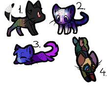 4 Cats Adoptables by Etosama