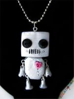 Cute Robot Necklace by Ideationox