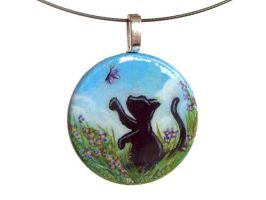 Black Cat Purple Flowers Pendant by sobeyondthis
